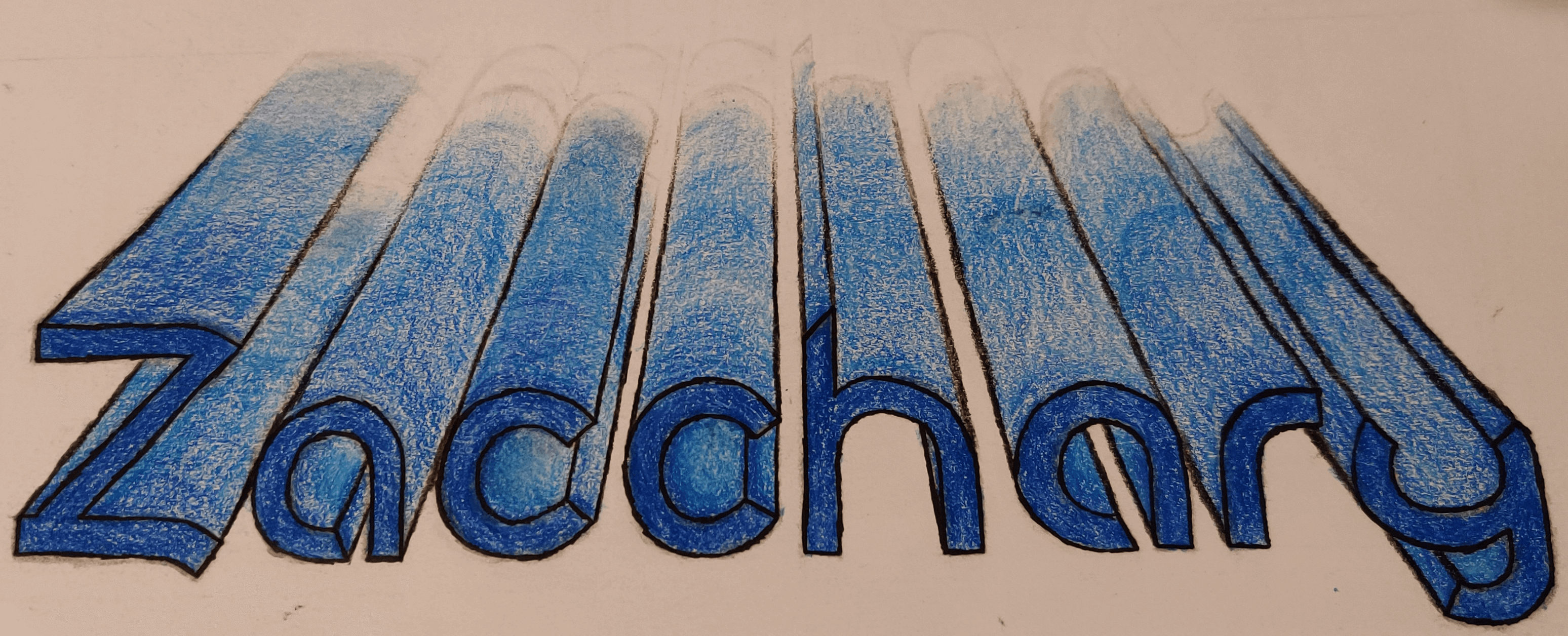 A 3-dimensional perspective drawing of my first name in blue