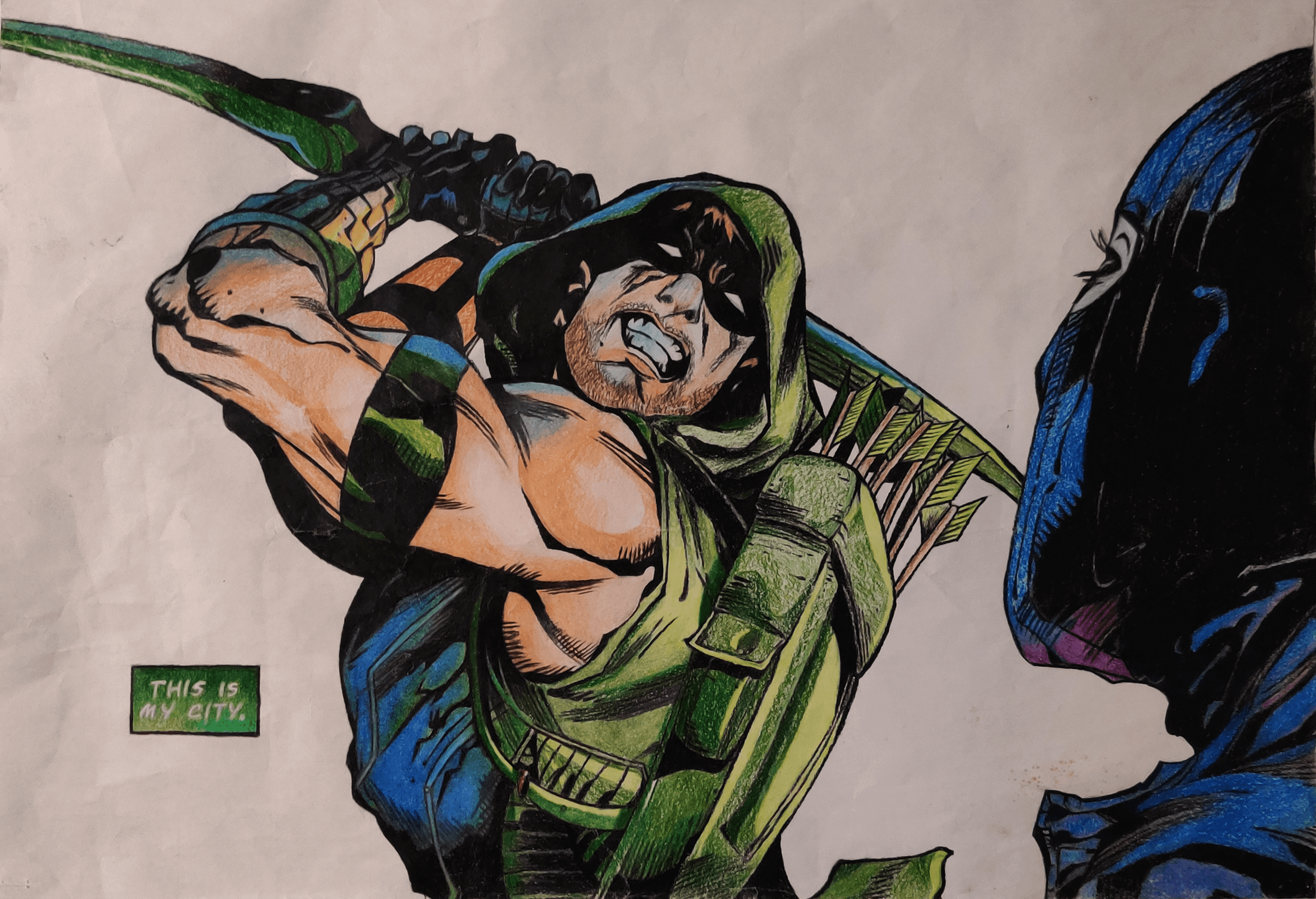 A pencil-crayon illustration of a page from an Arrow comic.