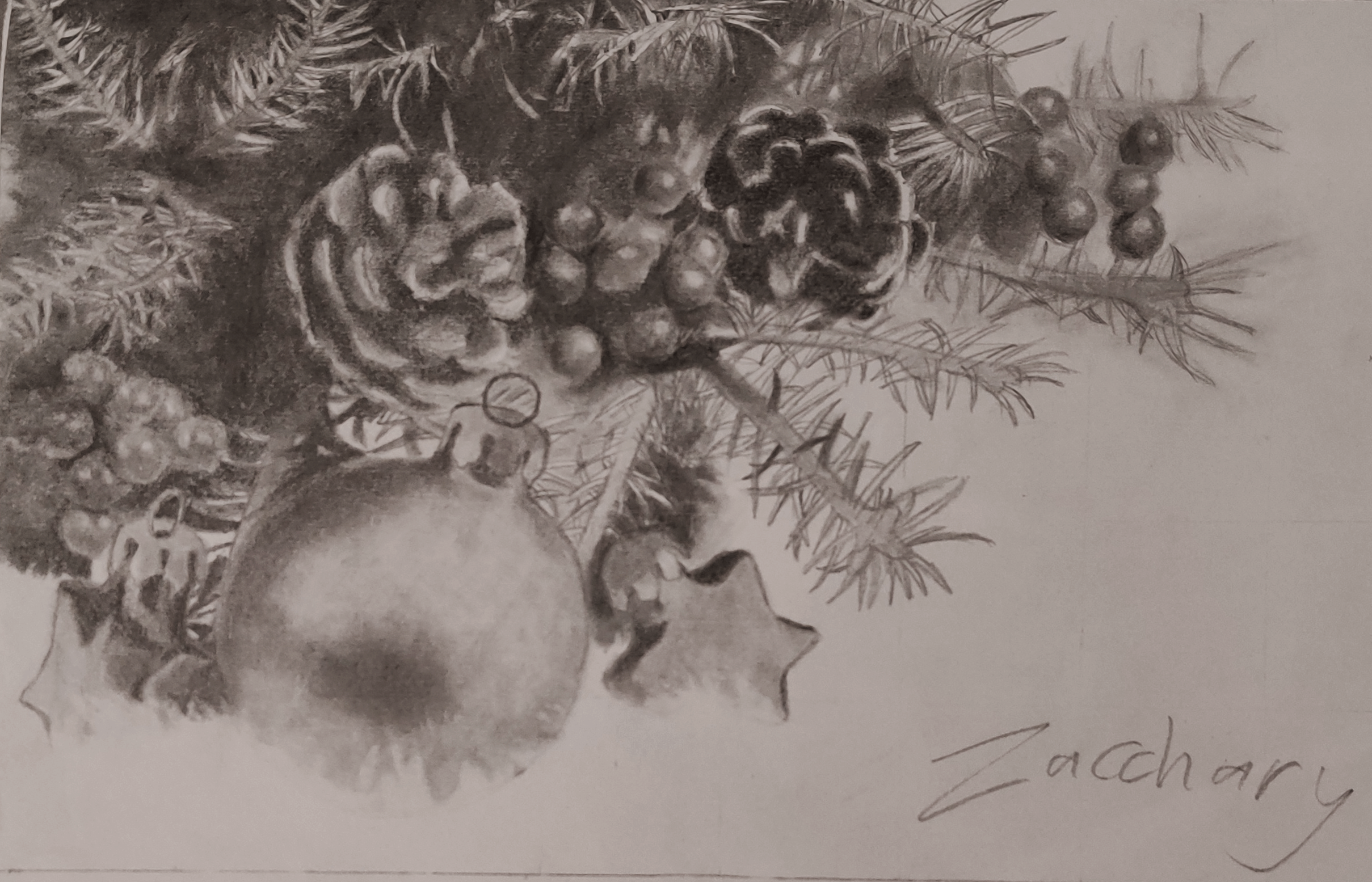 A value drawing of a small Christmas scene.