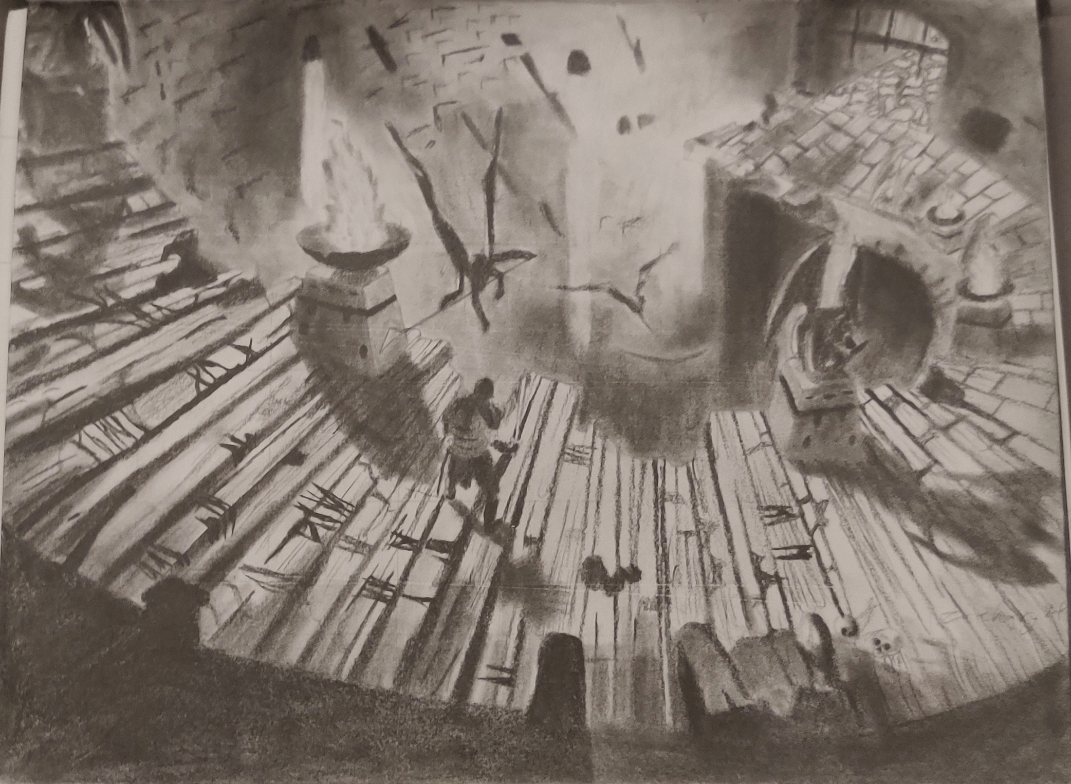 A pencil drawing of an explorer descending stairs into a crypt.