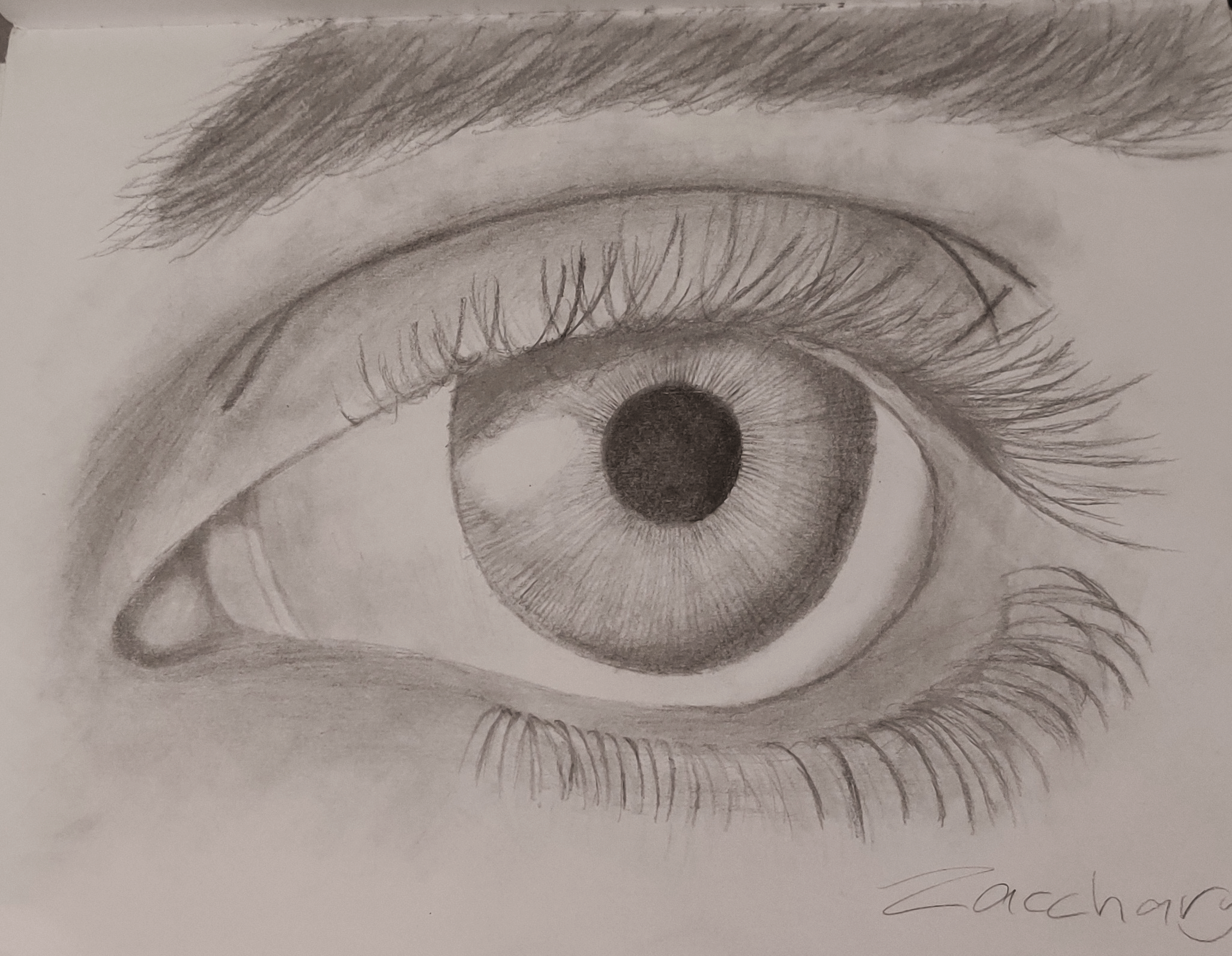 A value drawing of the up-close of an eye.