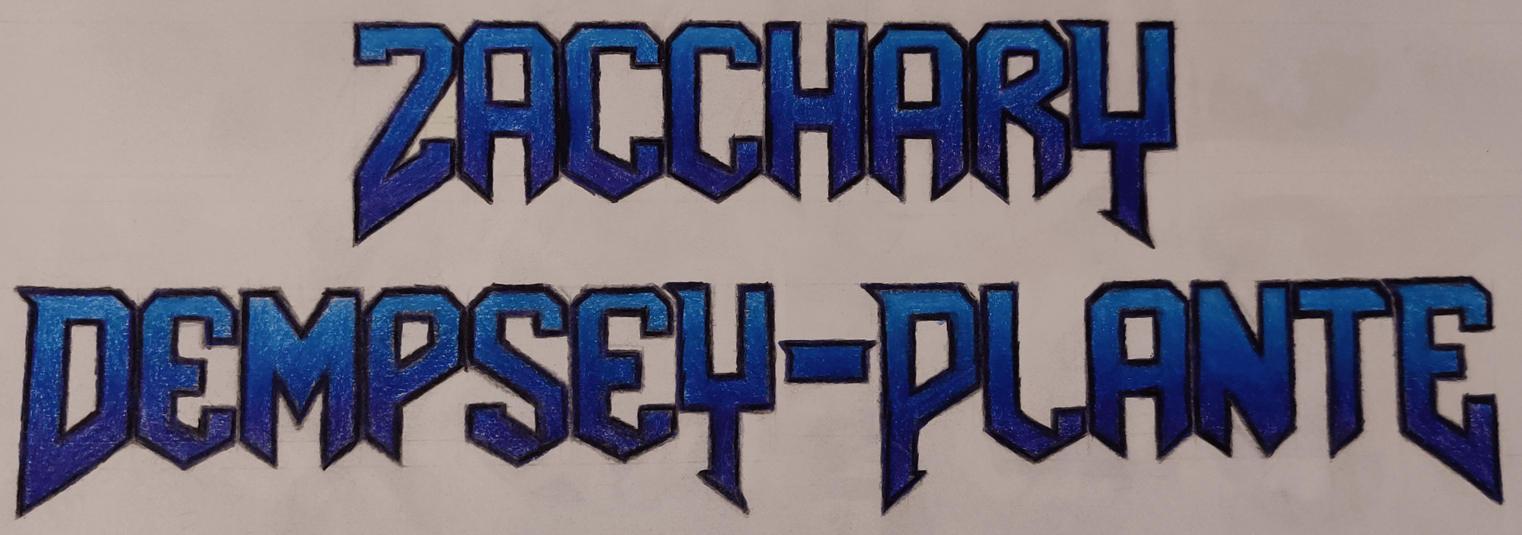 A typography drawing of my name in DOOM-styled font with a blue-to-purple (top-to-bottom) gradient.