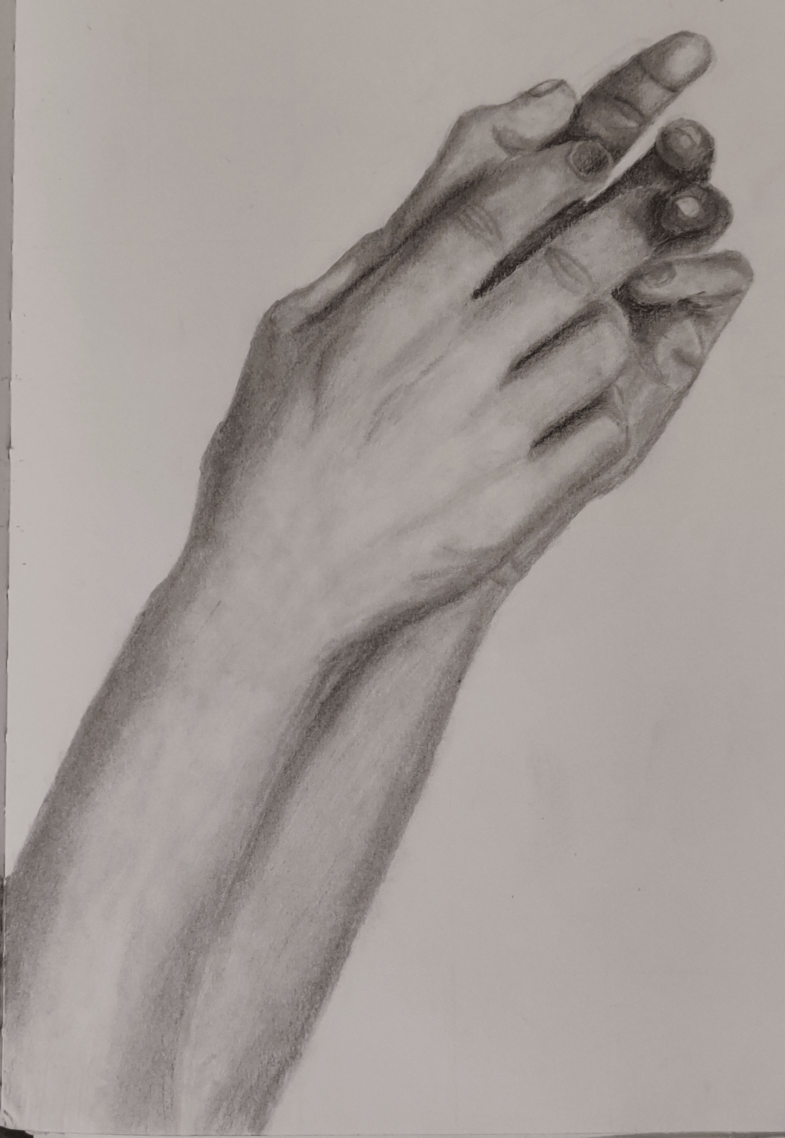 A value drawing of my hands together.