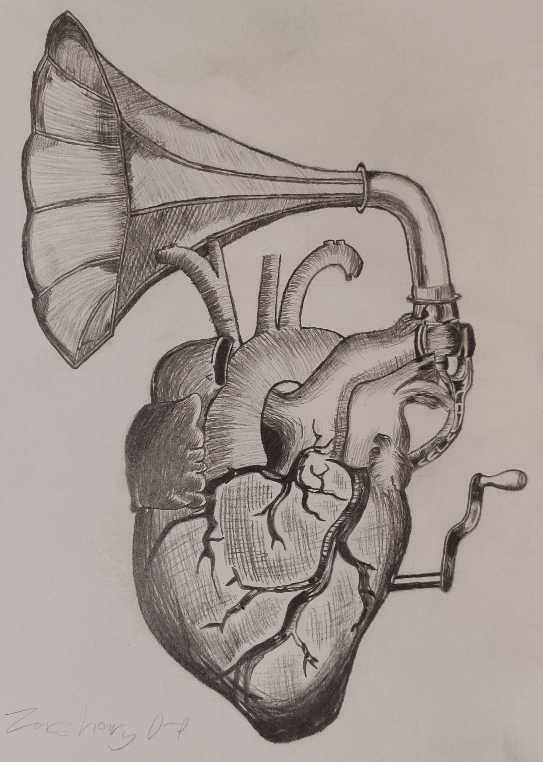 A hatching drawing of a heart with a gramophone horn coming from the top.