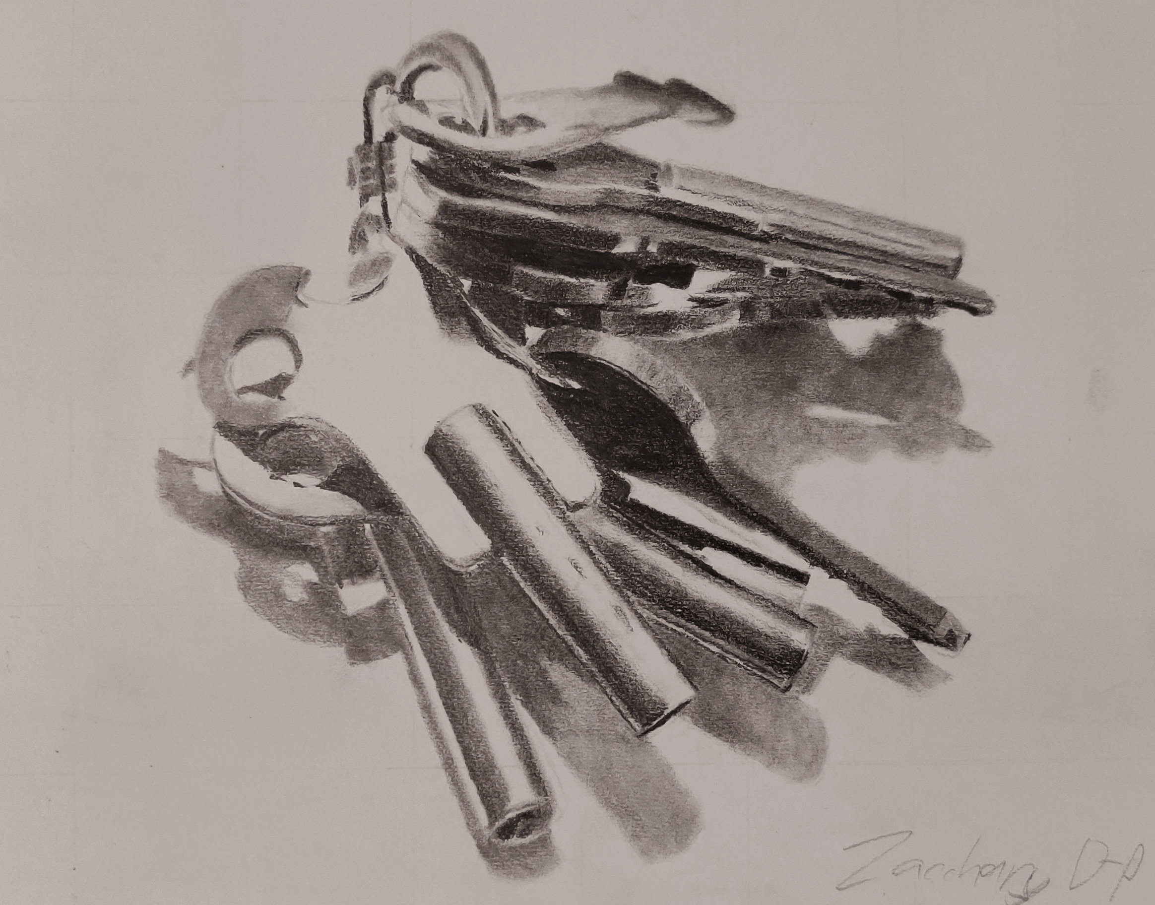 A drawing of a set of old keys resting on a windowsill.