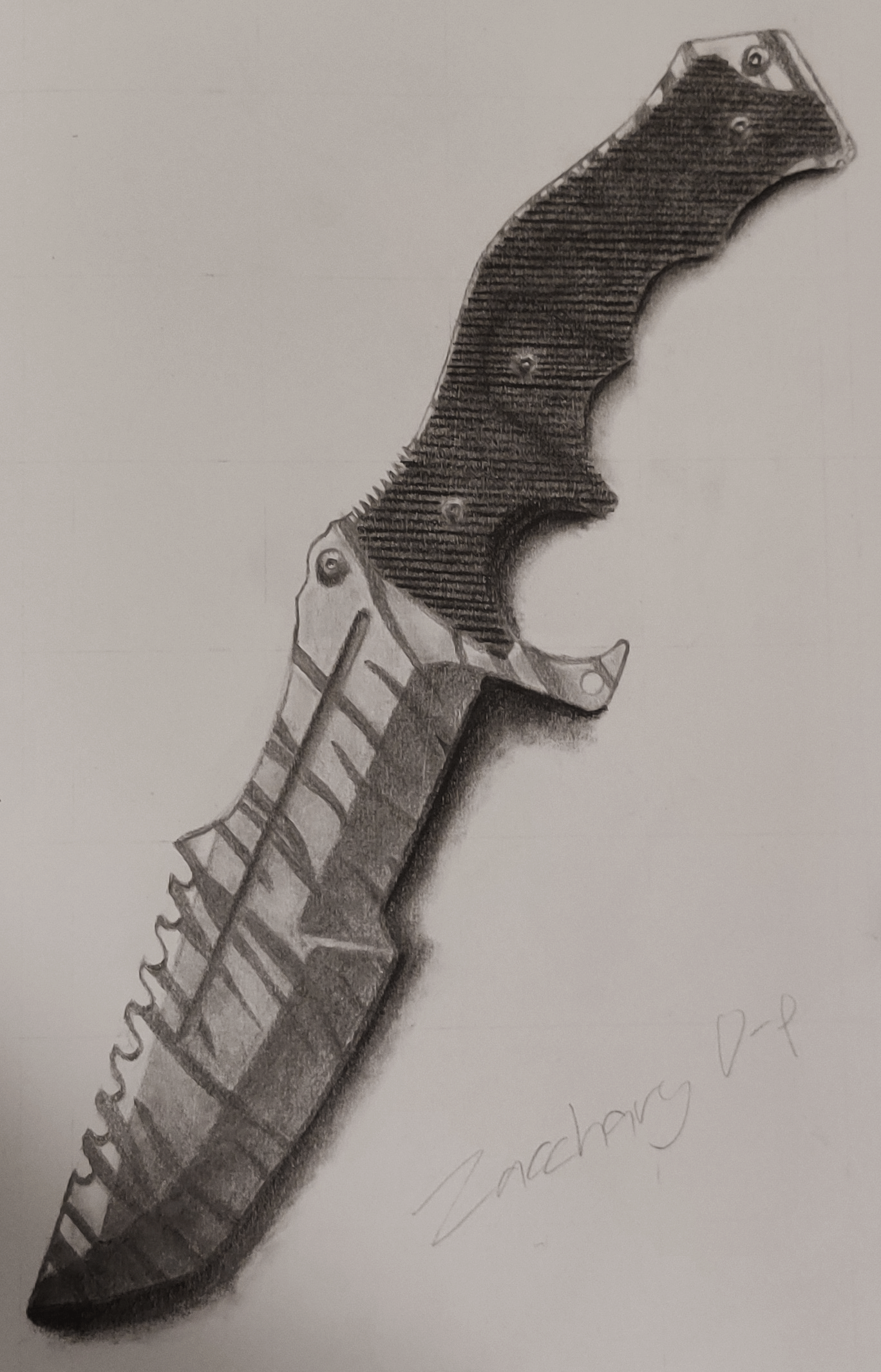 A pencil drawing of a Huntsman knife with a tiger stripe pattern.