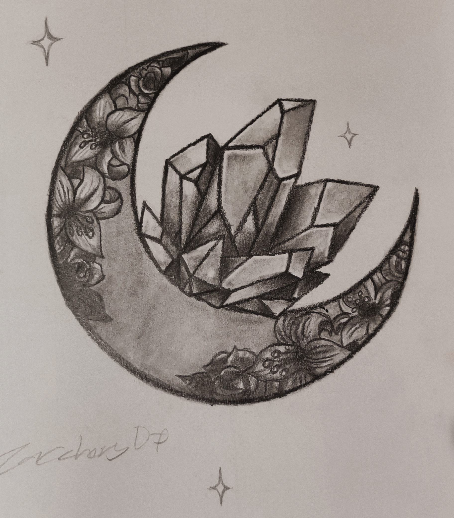 A pencil illustration of a crescent moon with a crystal and flowers.