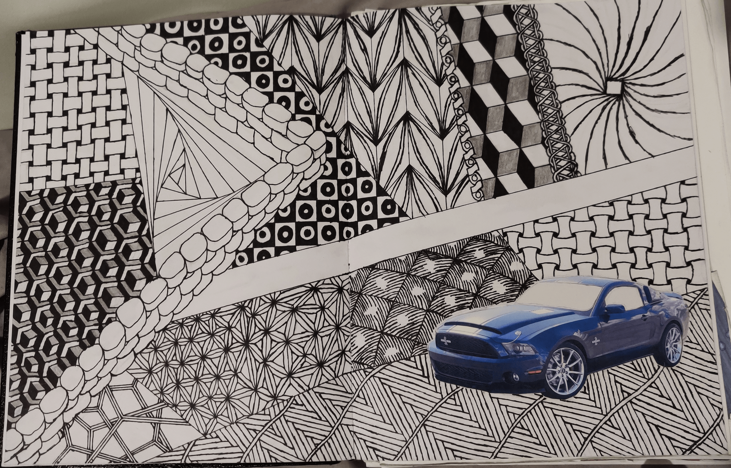 A two-page Zentangle drawing with 17 or so different Zentangle patterns and a cutout of a blue Mustang.