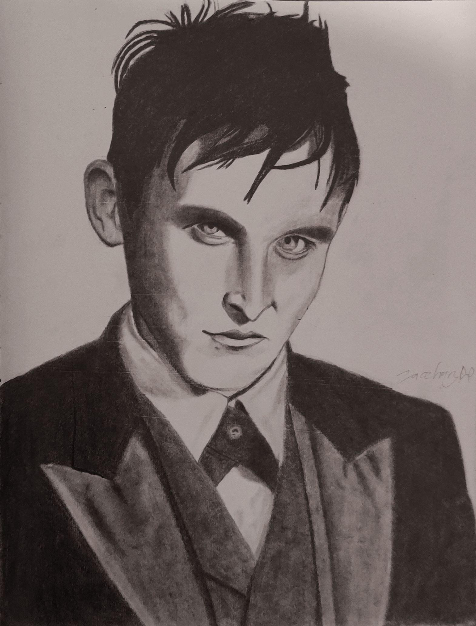 A pencil portrait of Penguin from the TV show 'Gotham'.