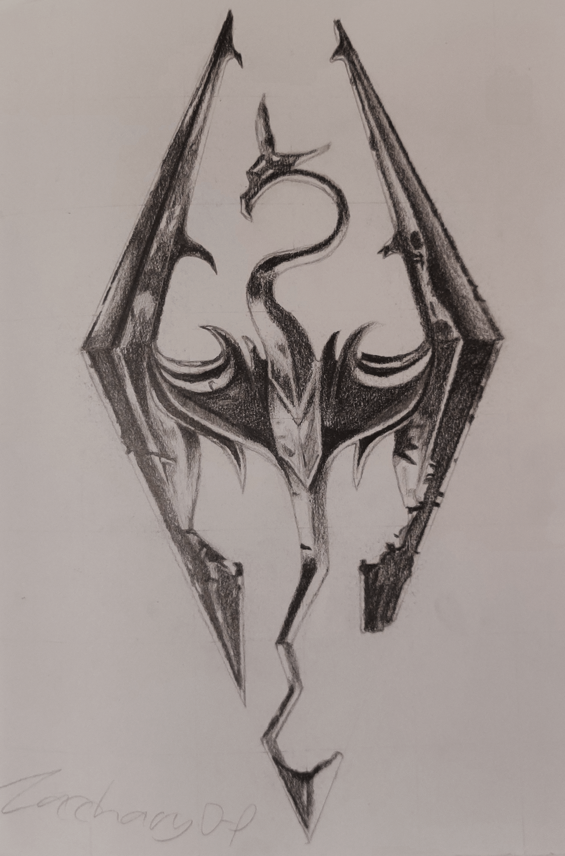 A pencil drawing of the Skyrim logo.