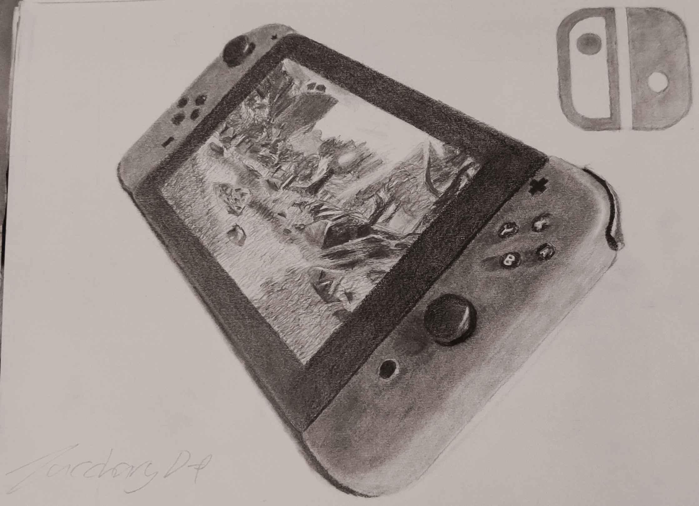 A perspective value drawing of a Nintendo Switch playing 'The Legend of Zelda: Breath of the Wild'.