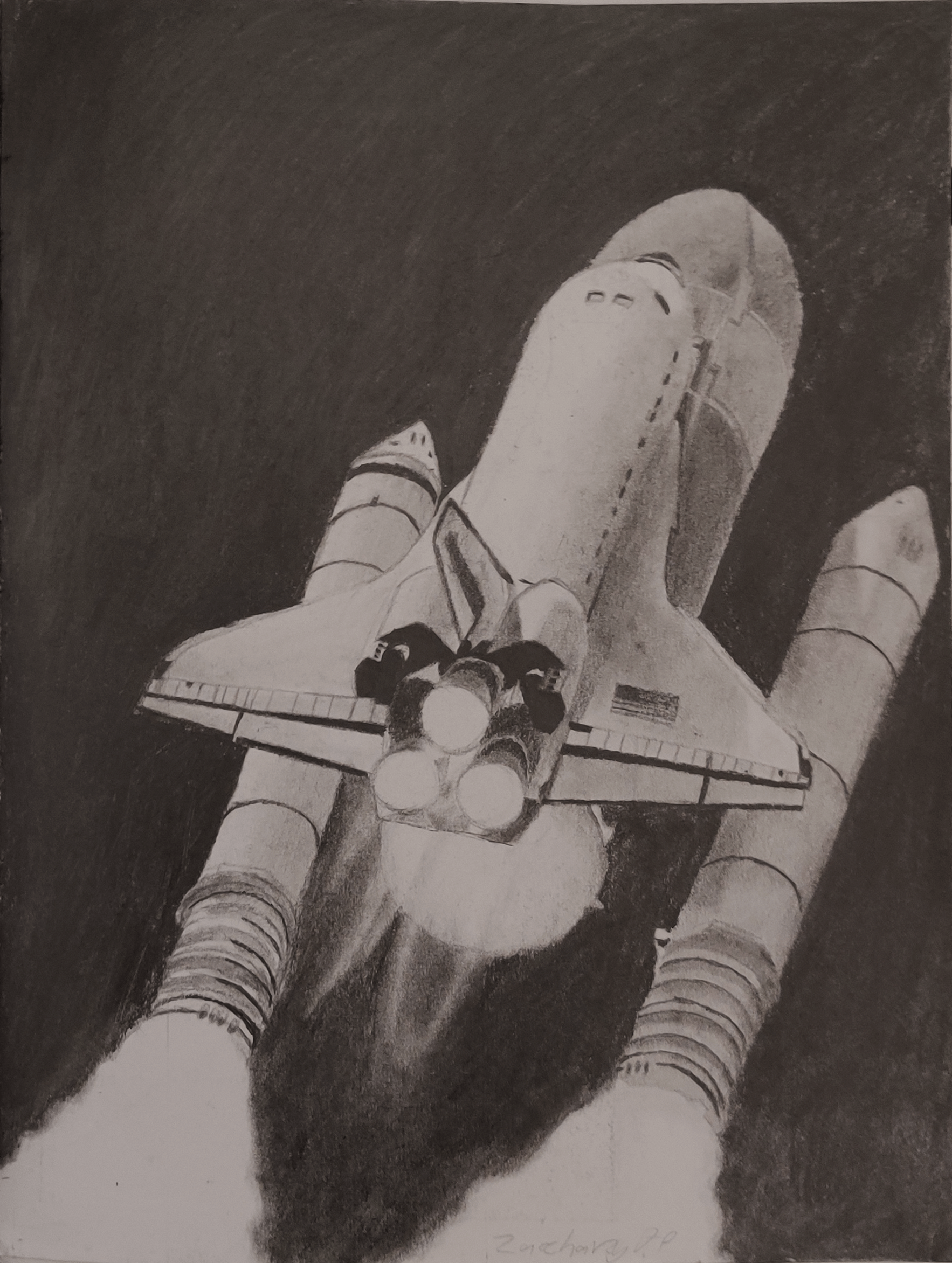 A drawing of a space shuttle taking off, just as the boosters detach.