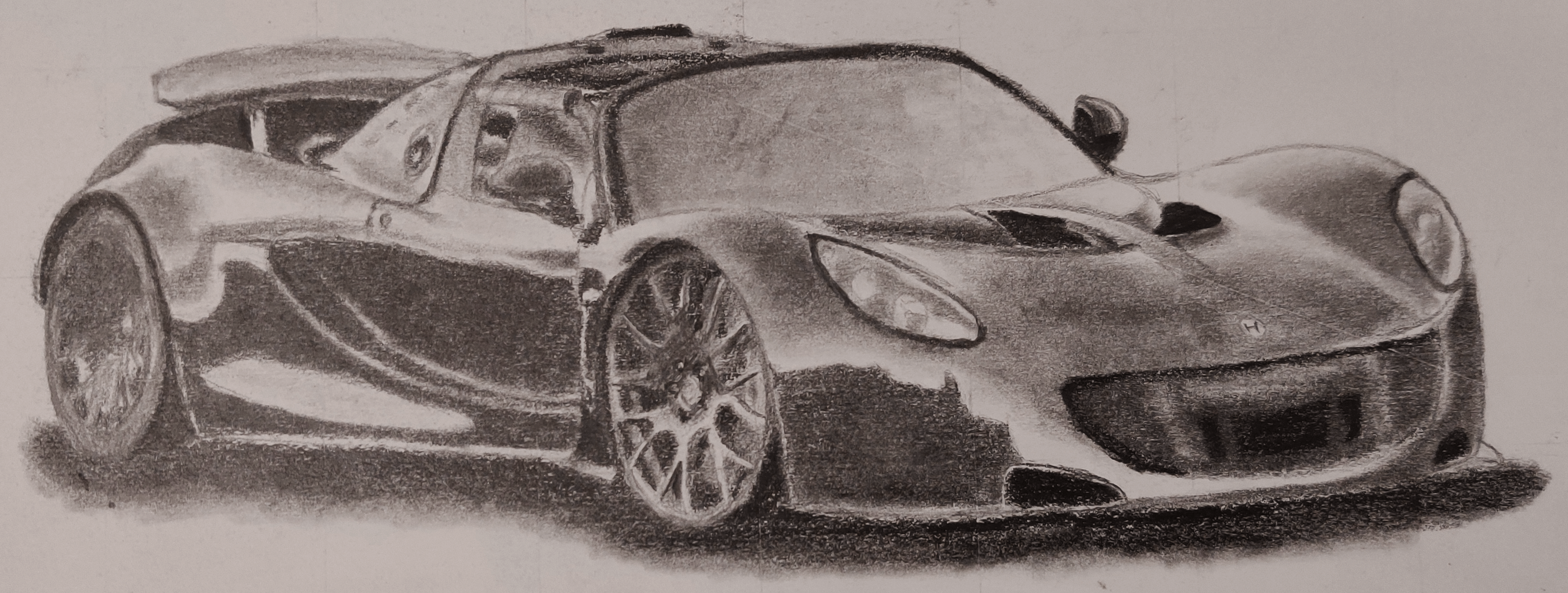 A drawing of a Hennessey Venom GT in pencil.