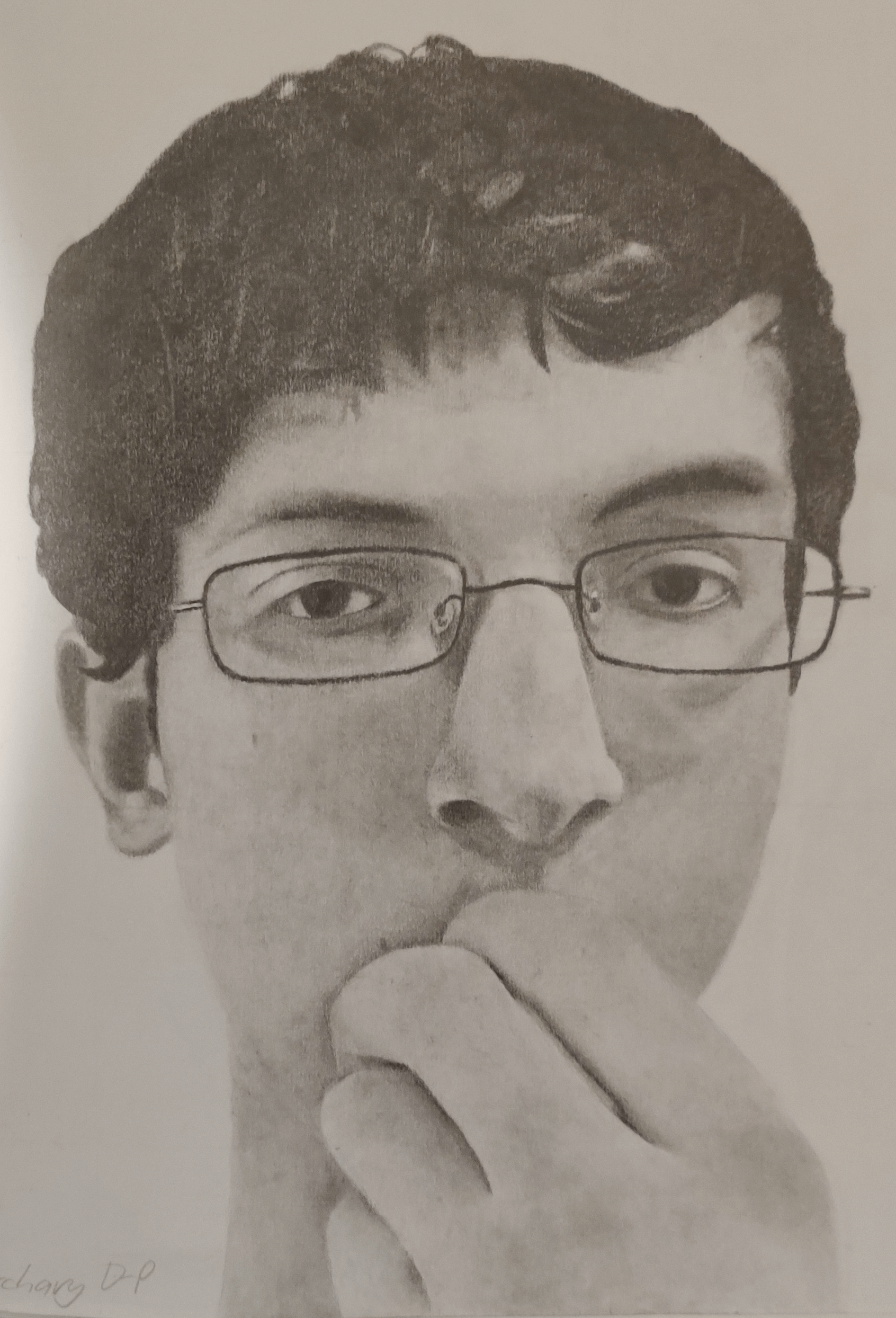 A self-portrait from back when I wore glasses.