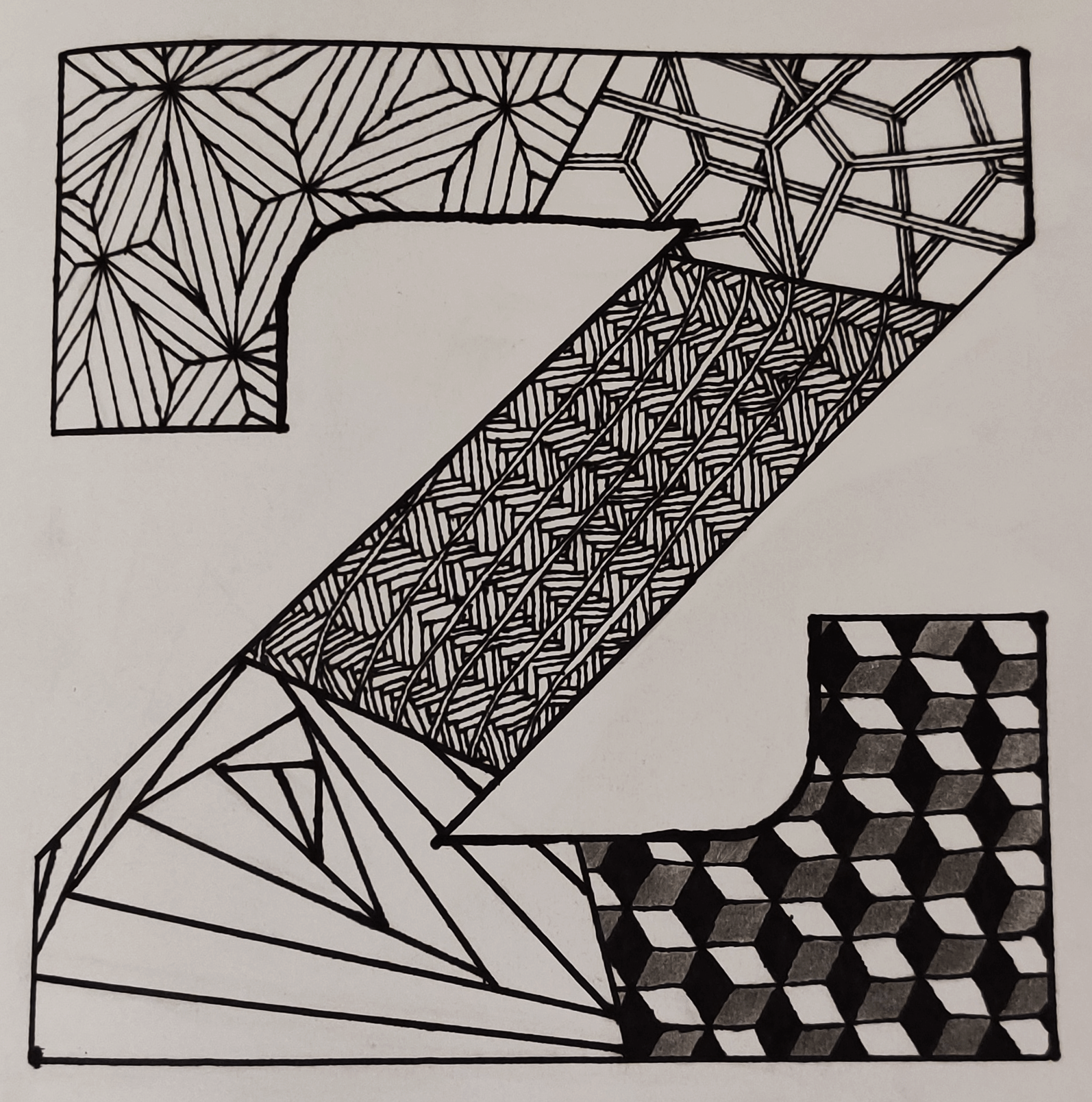 A block-text drawing of the letter 'Z' filled in with Zentangle patterns.